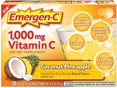 Emergen-C 1000 mg Vitamin C, Coconut Pineapple 30 ea by Emer