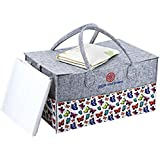 Baby Diaper Caddy Organizer- Large Portable Spacious Nursery Storage,Car Storage Bin with Unique Print, Perfect Baby Shower Gift