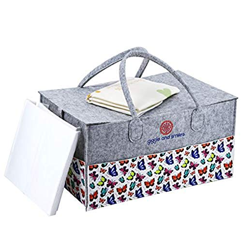 Baby Diaper Caddy Organizer - Large Portable Spacious Nursery Storage, Car Storage Bin with Unique Print, Perfect Baby Shower Gift