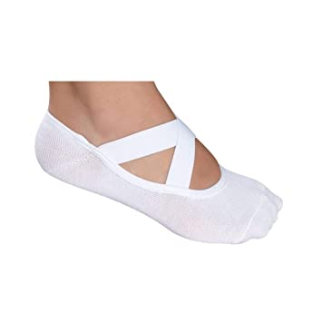 d37291da3 LUPO Women s Essential No Slip Crossover Yoga Barre Pilates Socks (White