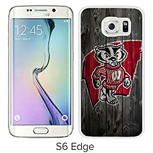 For Samsung Galaxy S6 Edge,Ncaa Big Ten Conference Football Wisconsin Badgers 5 White Protective Case For Samsung Galaxy S6 Edge