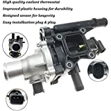Engine Coolant Thermostat Housing with Sensor Gasket for 2011-2016 Chevrolet Cruze 2012-2017 Chevrolet Sonic 2013-2017 Chevrolet Trax Replaces 25192228