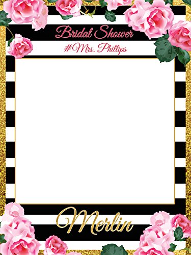 Custom Floral Bridal Shower Photo Booth Frame - Sizes 36x24, 48x36; Personalized Bridal Shower Decorations, Handmade Party Supply Photo Booth (Handmade Halloween Decorations)