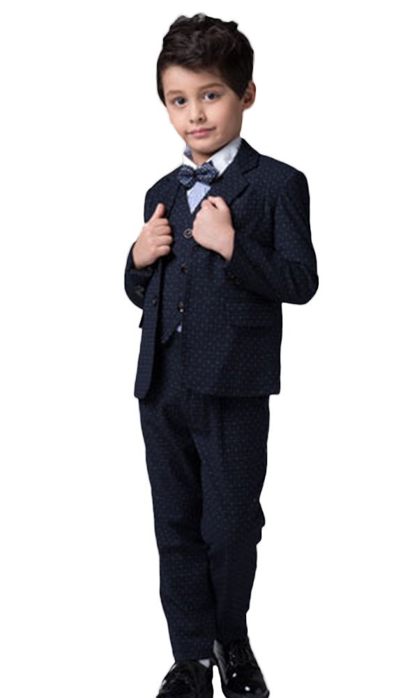 ICEGREY Boys' Boys Formal Dress Suit Set With Vest Suits, Bow Tie Blue 5-6 Years