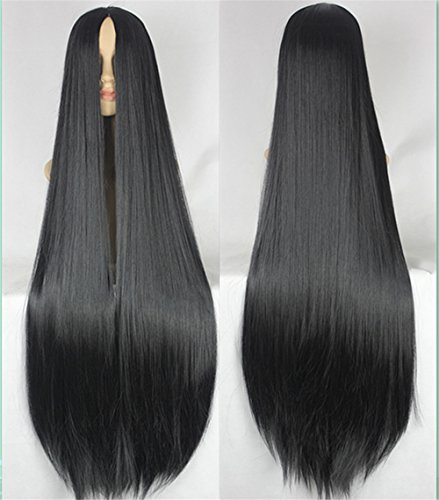 100CM Long Straight Wig No Bangs Extra Long Middle Parted Rose Network Black White Party Anime Cosplay Hair with Hairnet (Black) (Wig Long Extra)