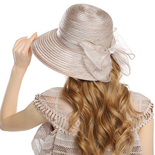 WELROG Women's Church Derby Hat - Organza Wide Brim Bowknot Wedding Tea Summer Hats(Khaki)