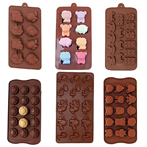 6 Pack nonstick value pack molds of Baby Toys, Smiley Face Emoji, Dinosaur, Animal Zoo, Lion and Friends Silicone baking molds for Candy Chocolate Soap (Ships From USA) ()