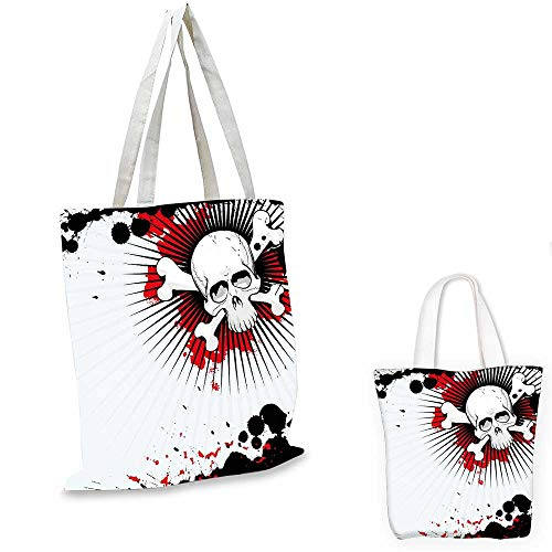 Halloween ultralight shopping bag Skull with Crossed Bones over Grunge Background Evil Scary Horror Graphic canvas beach bag Pearl Red Black. 13