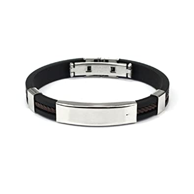 e1ceca95ec57a Lookatool Fashion Mens Jewelry Bracelet Stainless Steel Cuff bangle Hand  Chain