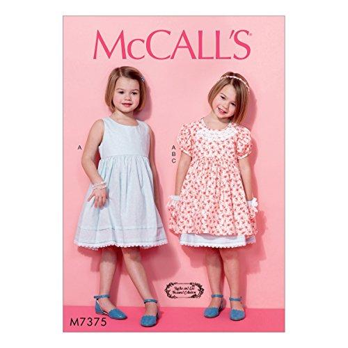 Puff Sleeve Pattern - McCall Patterns M7375CL0 Children's/Girls Sleeveless Dress/Puff Sleeve Overdress and Headband