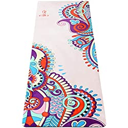 Umineux Yoga Mat - Eco Friendly Extra Thick 5mm Yoga Mat, Non Slip Natural Suede 2-in-1 Mat&Towel, Premium Print Exercise Fitness Mat with Carrying Strap&Bag for All Types of Yoga