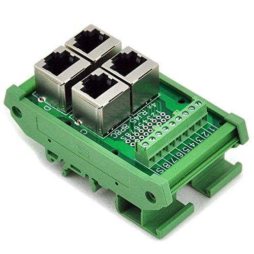 Electronics-Salon RJ45 8P8C 4-Way Buss Board DIN Rail Mount Interface Module.