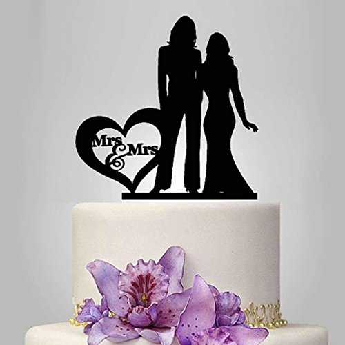 (Lesbian Cake Topper, Black Color Acrylic Silhouette Couple Bride and Bride Wedding Party Decorations, Wedding Gift for Ladies)