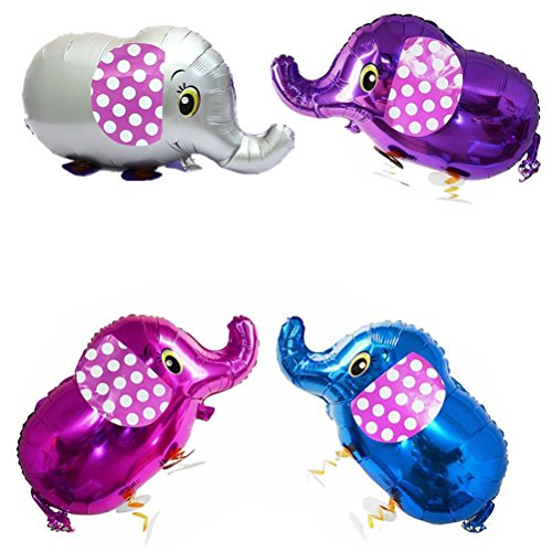 SUSHAFEN 4Pcs Walking Elephant Balloons Animal Balloon Toys Air Walkers Kids Farm Animal Theme Birthday Party Supplies Home Garden Park Decorations-Gray,Purple,Rose,Blue from SUSHAFEN