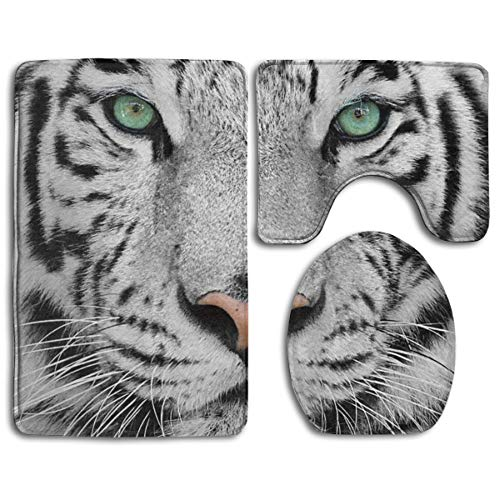 (White Tiger Style Pedestal Rug + Lid Toilet Cover + Bath Mat Bathroom Accessories Soft Flannel Sets Bathroom Rugs and Mats 3 Piece Bath Rug Non-Slip Floor Rugs \r\nToilet Covers and Rugs)