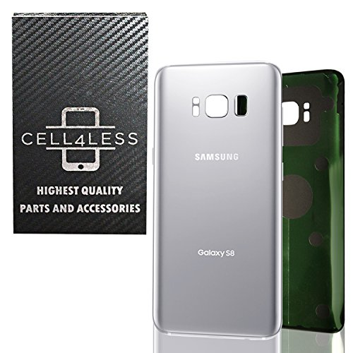 CELL4LESS Compatible Back Glass Cover Back Battery Door w/ Pre-Installed Adhesive Replacement for Samsung Galaxy S8 OEM - All Models G950 All Carriers- 2 Logo - OEM Replacement (Arctic Silver)