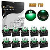 Partsam T10 194 LED Light bulb 168 LED Bulbs Bright Instrument Panel Gauge Cluster Dashboard LED Light Bulbs Set 10 T10 LED Bulbs with 10 Twist Lock Socket – Green