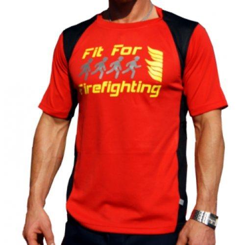 Maglia da corsa Fit For firefighting in rosso, traspirante, ad asciugatura rapida