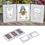 Baby Handprint, Queta Picture Frame Baby Handprint and Footprint Personalized Wooden Picture Frame with Non-Toxic Clay Keepsake Set for Baby Gift