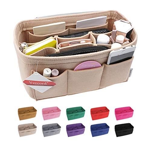 - Vercord Felt Handbag Insert Organizer Purse Pocketbook Tote Bag Liner Shaper Inside Beige Small