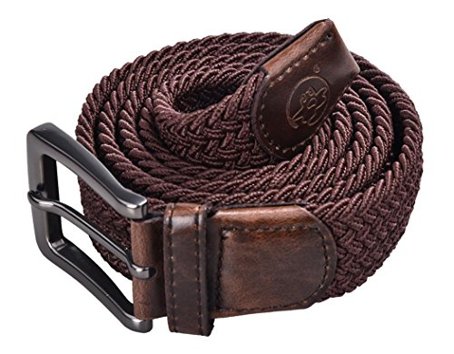 Anmengte Men Fabric Woven Reversible Elastic Stretch Braided Multicolor Buckle Leather Belt (One Size, Coffee)](Mens Leather Woven Belt)