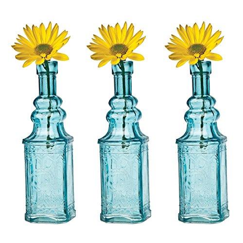 Luna Bazaar Small Vintage Glass Bottle Set (6.5-Inch, Ella Square Design, Turquoise Blue, Set of 3) - Flower Bud Vase Set - for Home Decor and Wedding -