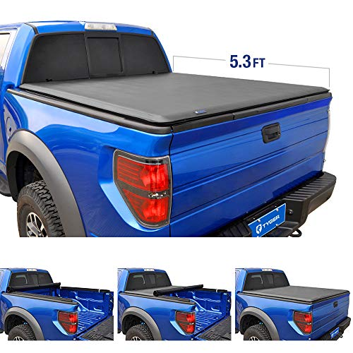 Tyger Auto T1 Roll Up Truck Tonneau Cover TG-BC1D9016 Works with 2005-2011 Dodge Dakota 2006-2008 Mitsubishi Raider | Fleetside 5.3' Bed | Fit Models Without Utility Track System
