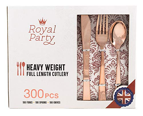 300 Pieces Premium Rose Gold Plastic Silverware from Royal Party   Disposable Heavyweight Plastic Cutlery   Full Length Flatware Set - Includes 100 Forks, 100 Spoons, 100 Knives.