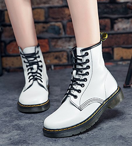 Flat Lace High Up Boots Toe Martin Aisun Round Ankle Top Women's White Booties Comfortable IapZWqfxw1