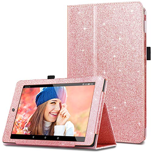 Fingic Case for All-New Amazon Fire HD 8 Tablet (7th and 8th Generation, 2017/2018 Release) Glitter Sparkly Folio Folding Stand Cover with Holder & Auto Wake/Sleep Smart Case for Fire - Case Pink Glitter Tablet 8