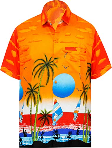 LEELA Likre Aloha Dress Shirt Orange 247 Large | Chest 44
