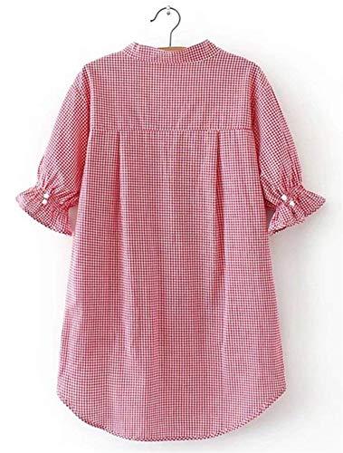 Bouffant Elgante Costume Manches Et Carreaux Shirt Dame Irrgulier Courtes Chemise Rouge Tunique Mode V Blouse Chic Femme Cou Dsinvolte Asymtrique Haut OqwS07
