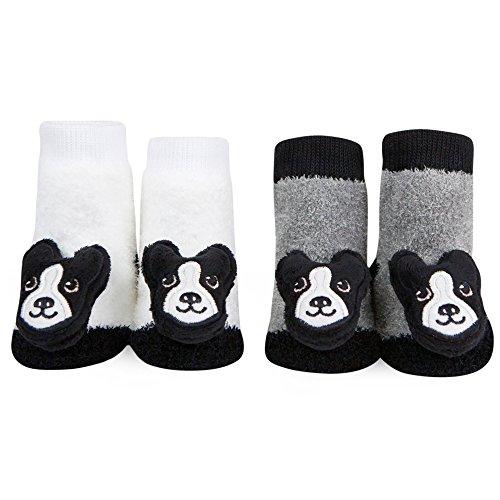 (WADDLE Unisex Boston Terrier Rattle Socks 2 Pairs Newborn Black White Grey 0-12)
