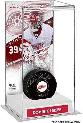 Dominik Hasek Detroit Red Wings Autographed Puck with Deluxe Tall Hockey Puck Case - Fanatics Authentic Certified - Dominik Hasek Detroit Red Wings