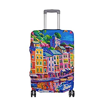 ALAZA Italy House Boat Sea Oil Painting Luggage Cover Fits 18-22 Inch Suitcase Spandex Travel Protector S