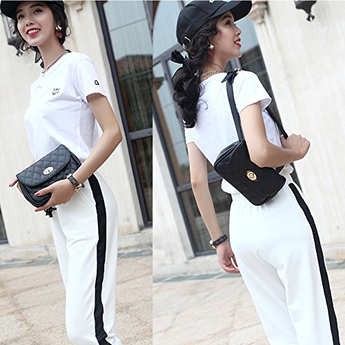 Fanny Pack for Women Fashion Waist Bag PU Quilted Belt Bag Bum Bag Chest Pack with Two Belts (Black) by VAQM (Image #2)