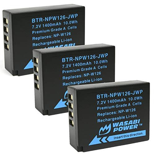 Wasabi Power Battery (3-Pack) for Fujifilm NP-W126 and Fuji FinePix HS30EXR, HS33EXR, HS50EXR, X-A1, X-E1, X-E2, X-M1, X-Pro1, X-T1
