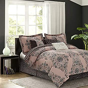 Image of 7 Piece Blush Pink Brown Medallion Floral Pattern Comforter Queen Set, Elegant Large Scale Rich Damask Motif Texture Design, Traditional Style, Bohemian Theme Reversible Bedding, Microfiber, Polyester