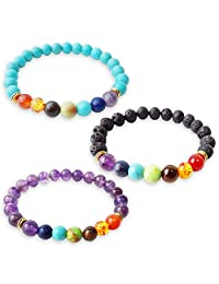ALoveSoul 3 pcs Amethyst And Turquoise And Black Lava Stone Stretch Yoga Chakra Power Balance Bracelets