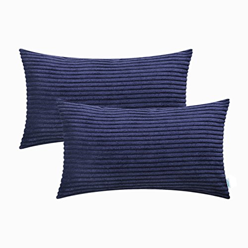 CaliTime Pack of 2 Cozy Bolster Pillow Covers Cases for Couch Sofa Bed Comfortable Supersoft Solid Corduroy Striped Both Sides 12 X 20 Inches Navy Blue