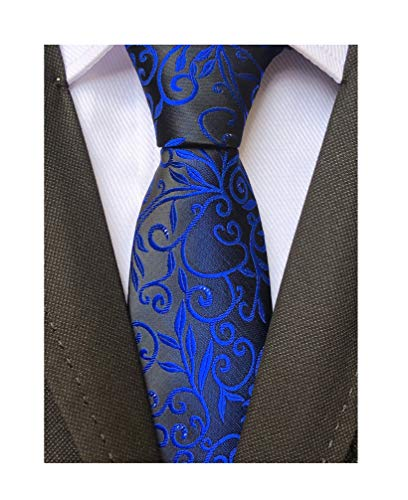 Men's Royal Blue BLACK Jacquard Silk Narrow Ties Bridegroom Funny Neckties Gifts]()