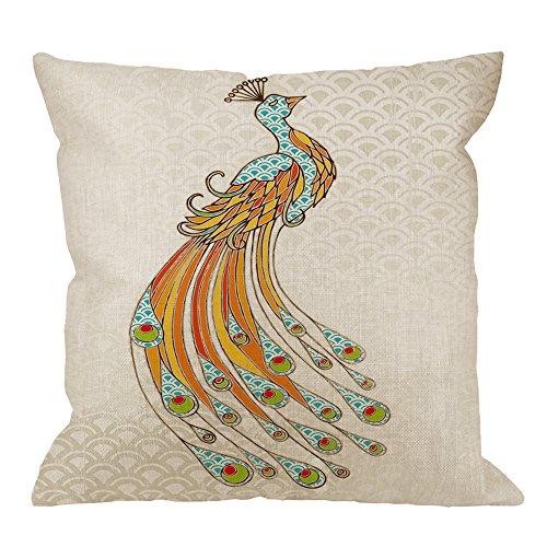 HGOD DESIGNS Peacock Pillow Case,Beautiful Blue Mermaid Scaly Peacock Design Cotton Linen Cushion Cover Square Standard Home Decorative for Men/Women 18x18 inch Orange Blue