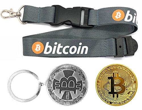 3 Piece HODL's Bitcoin Gift Set - Bitcoin Lanyard + Metal Keychain + Gold Coin