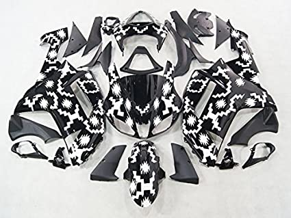 Moto Onfire ABS Injection Plastic Fairings Kits Fit for Kawasaki Ninja ZX6R 636 2007 2008 (Geometric Black)
