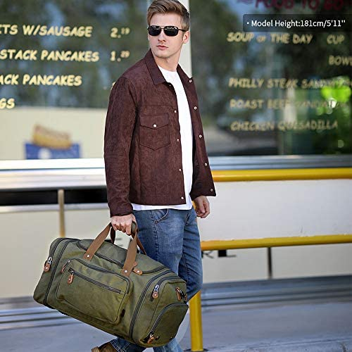 Plambag Travel Duffle Bag with Shoe Compartment 60L Canvas Duffel Overnight Weekend Bag(Army Green)
