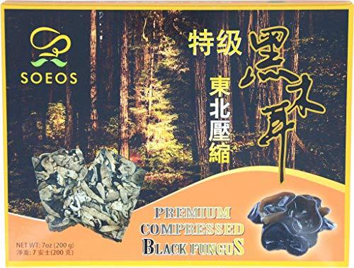 Soeos Dried Woodear Mushroom, Premium Compressed Black