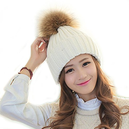 0604e4ed0c5 FURTALK Womens Girls Winter Fur Hat Real Large Raccoon Fur Pom Pom Beanie  Winter Hats