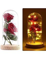 """Konesky Beauty und das Biest Rose Kit, romantyczne lampy LED na podstawie sosny z kloszem szklanym, """"zrób to sam"""", prezent w kształcie róży, dekoracja na biurko, Walentynki, jubileusz, wesele"""