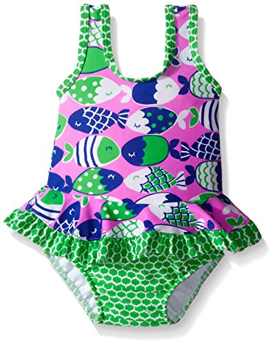 Flap Happy Baby UPF 50+ Stella Infant Ruffle Suit with Swim Diaper, Fish Bliss, 6 Months