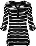 ouxiuli Women's V Neck Stripes Print Henley Tee Blouse T-Shirts Black L